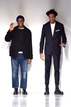 Joe Casely-Hayford, left, with his son and business partner, Charlie, on the catwalk of the Casely-Hayford show at London Fashion Week in 2017.