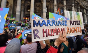 """A banner saying """"Marriage rites are human rights"""" at a marriage equality rally in Adelaide in September 2017."""