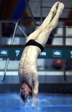 Tom Daley enters the water at the 2017 Diving World Series leg at Kazan's Aquatics Palace.