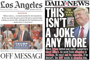 Front pages from Los Angeles and New York, from one day in the 2016 presidential campaign.