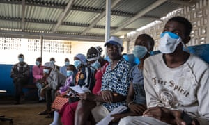 Patients waiting to be tested for TB in Monrovia, Liberia.
