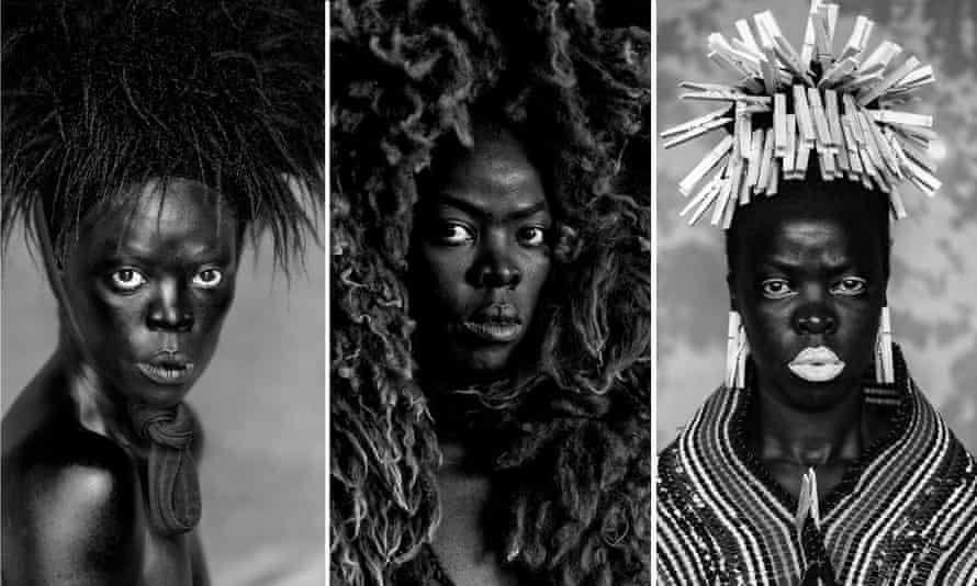 Scrutinised, violated, undermined … three of Muholi's self-portraits.