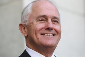 Prime Minister Malcolm Turnbull smiling at a press conference in the PM's courtyard. The Government hopes to push through legislation by Christmas.