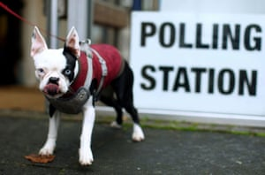 A lick of the lips outside a polling station in London