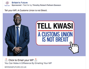 A pro-Brexit Facebook advert run by Britain's Future targeted at the Conservative MP Kwasi Kwarteng.