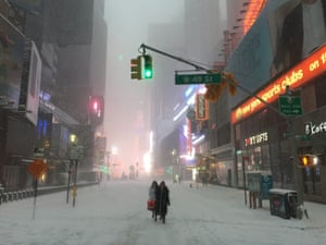 Times Square under the grip of Storm Jonas. During the storm, all travel systems were suspended, leaving the iconic square to the intrepid pedestrian.