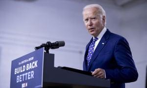 Joe Biden speaks at a campaign event in Wilmington, Delaware, on 28 July.