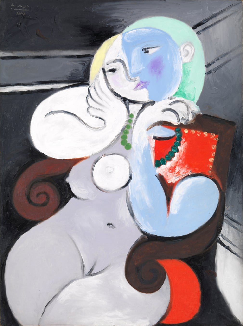 Nude woman in a red armchair by Pablo Picasso