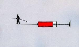Man walking tightrope on syringe needle.