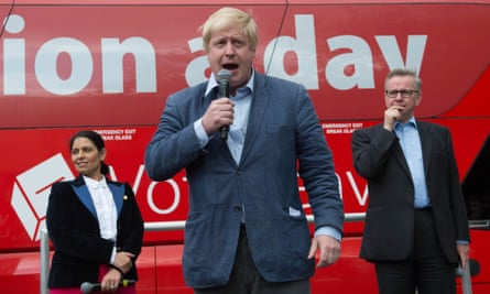 Boris Johnson with Priti Patel and Michael Gove in Preston, Lancashire, during the Vote Leave referendum campaign. Behind them, the infamous bus promising £350m a day for the NHS.
