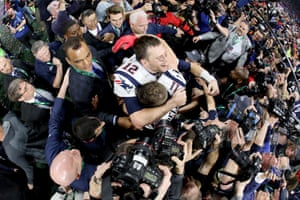 Tom Brady and Julian Edelman celebrate the New England Patriots' 13-3 win over the Los Angeles Rams in Super Bowl LIII in Atlanta