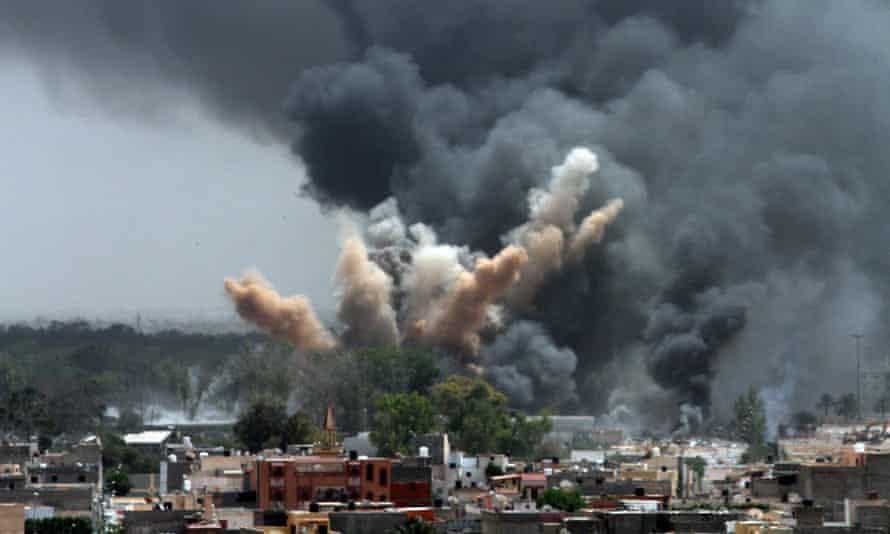 NATO airstrike in Tripoli, Libya, on June 7, 2011.