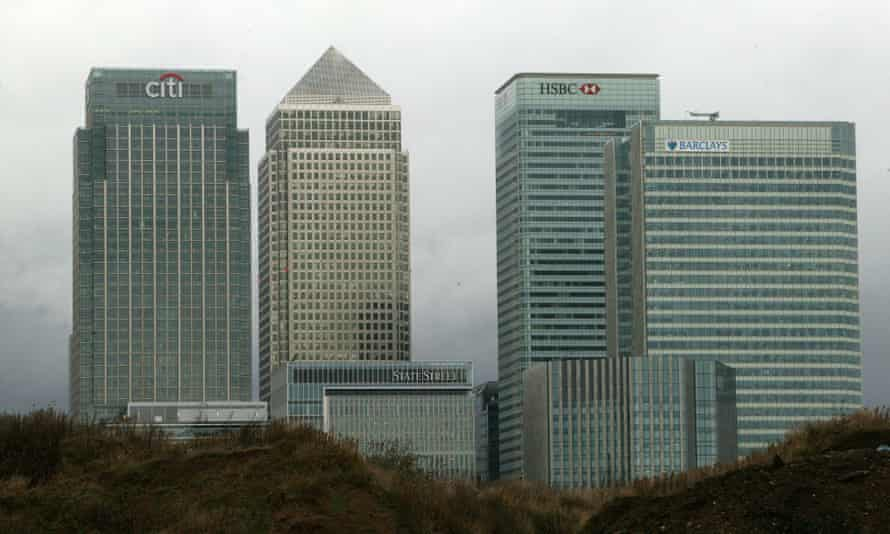 The offices of Barclays Bank, Citi and HSBC in London's Canary Wharf.