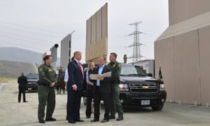 Donald Trump inspects border wall prototypes in San Diego in March.