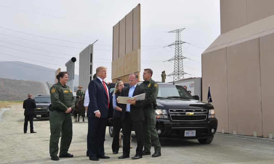 Donald Trump inspects border wall prototypes in San Diego, California.