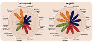 The flower petals and the labels represent different sustainability metrics that compare organic farming with conventional farming. They illustrate that organic systems can better balance the four areas of sustainability: production (orange), environment (blue), economics (red) and social wellbeing (green).
