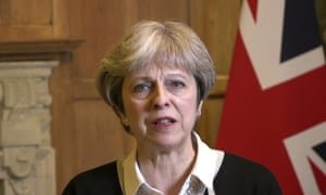 In this image made from video provided by UK Government, British Prime Minister Theresa May announces early on Saturday morning that she has authorised British armed forces to 'conduct coordinated and targeted strikes to degrade the Syrian regime's chemical weapons capability and deter their use.'