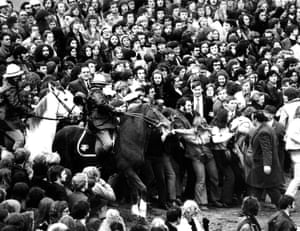 Mounted police clash with protestors among the crowd outside Olympic Park in Melbourne, 3 July, 1971.