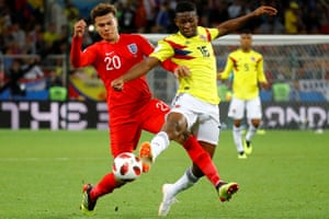 Jefferson Lerma battles with Dele Alli during Colombia's World Cup game against England.