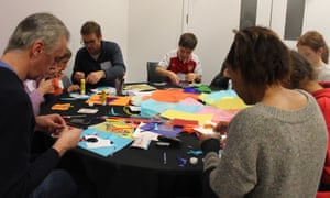 Creating butterflies with Andrew Logan at the Guardian cartoon and art family day.