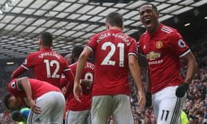 Anthony Martial of Manchester United celebrates scoring against Tottenham Hotspur