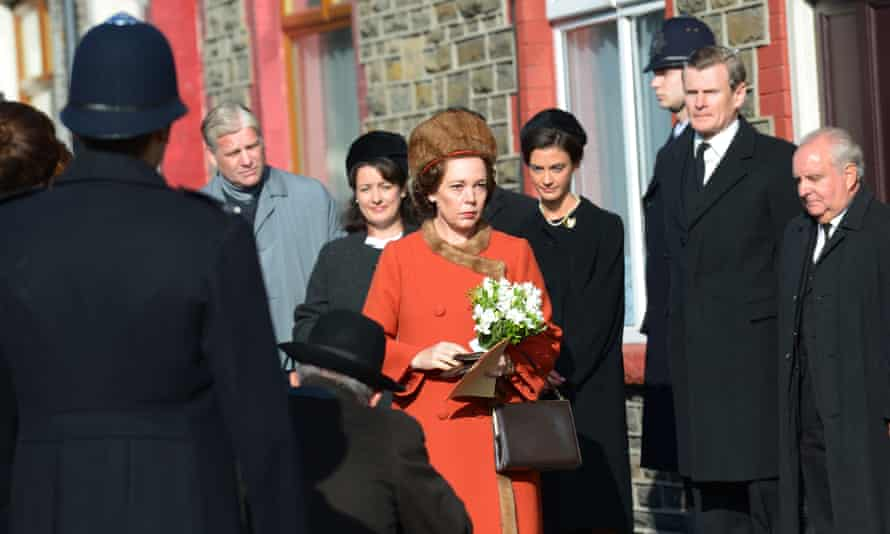 Olivia Colman as the Queen in a scene about the Aberfan disaster in The Crown.