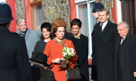 Olivia Colman as the Queen in the Netflix series The Crown filming a scene from the Aberfan disaster in south Wales.
