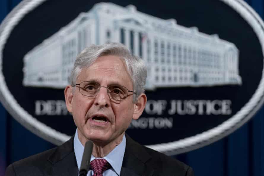 The attorney general, Merrick Garland, speaks about a jury's verdict in the case against former Minneapolis police officer Derek Chauvin for the murder of George Floyd, in April.