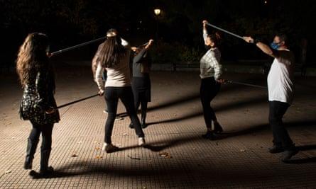 Dancing in the Jardín del Rastro, Madrid.