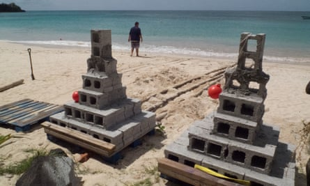 Two new reef pinnacles waiting to be launched into the water.