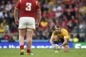 Australia's centre Matt Giteau prepares to kick a penalty.