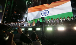 Narendra Modi and David Cameron on stage at a rally at Wembley Stadium in London on Friday