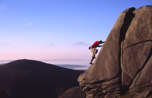 Rock climbing in the Mourne MountainsB20JEX Rock climbing in the Mourne Mountains