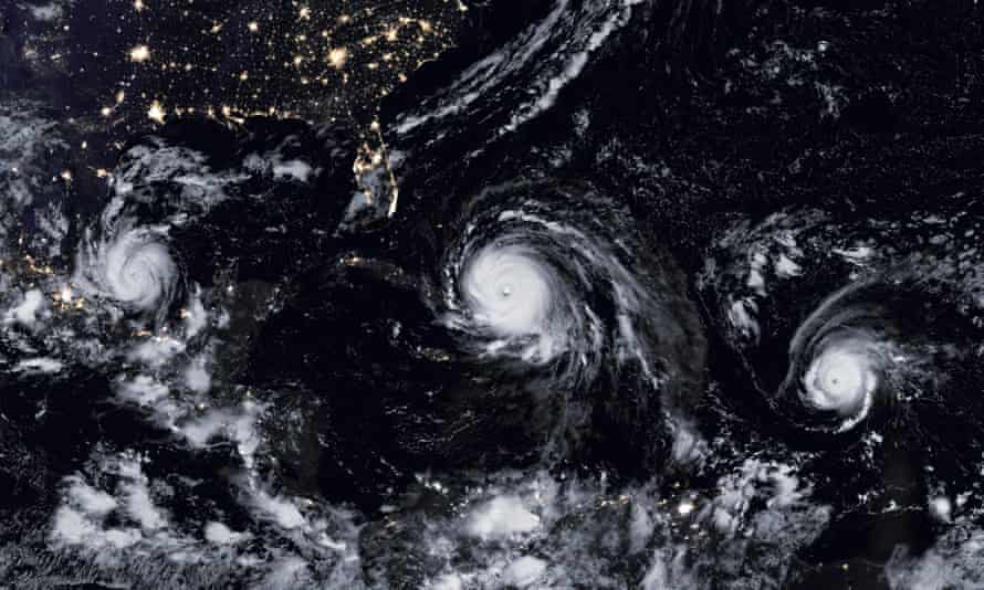 Hurricane Jose, right, follows closely behind Hurricane Irma, centre, with Hurricane Katia to the left.