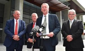 Joe, John, Dennis and Neill Wagner outside the supreme court in Brisbane