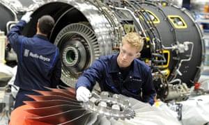 Rolls-Royce staff working on the BR725 engine.