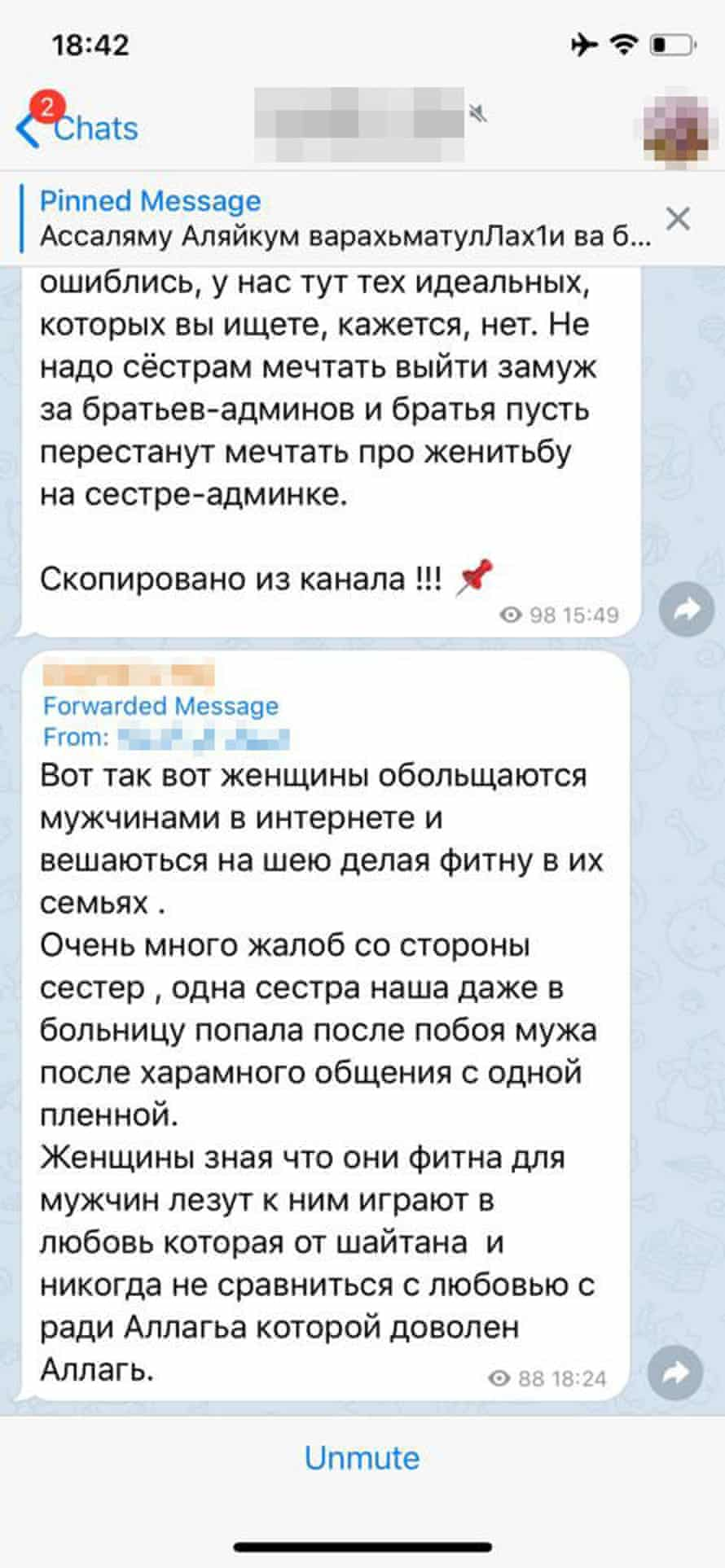 Message from Russian woman living in Idlib: 'These women flirting make men love them and be all over them [literally: hang on their necks]. They are making fitna [unrest, rebellion] in families ... I have many complaints from sisters ... One woman even went to hospital after she was beaten by her husband after he had a haram talk with one of the camp girls. Women know this is fitna for men. Yet they use them, play at love, but it's not real love.'
