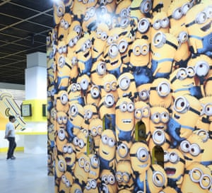 Seoul, South Korea: A visitor looks at articles on display at the first Minions exhibition