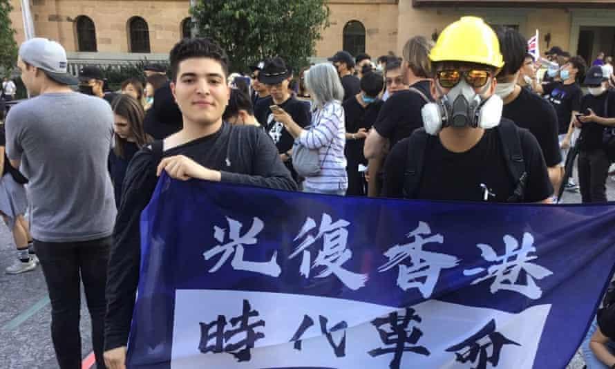 Drew Pavlou at a pro-Hong Kong student event