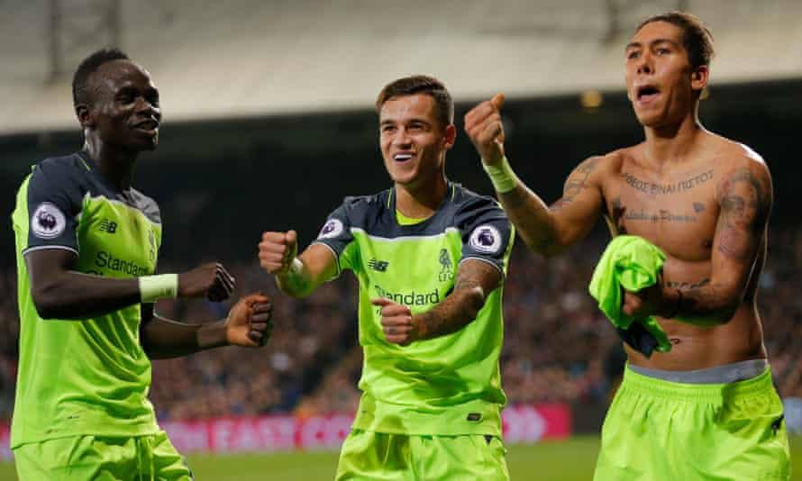 Sadio Mané and Philippe Coutinho join Roberto Firmino in celebrating his second-half goal at Selhurst Park.