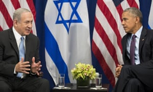 """President Obama Holds Bilateral Meeting With Isreali Prime Minister Benjamin NetanyahuNEW YORK, NEW YORK - SEPTEMBER 21: (L to R) Prime Minister of Israel Benjamin Netanyahu speaks to U.S. President Barack Obama during a bilateral meeting at the Lotte New York Palace Hotel, September 21, 2016 in New York City. Last week, Israel and the United States agreed to a $38 billion, 10-year aid package for Israel. Obama is expected to discuss the need for a """"two-state solution"""" for the Israeli-Palestinian conflict. (Photo by Drew Angerer/Getty Images)"""