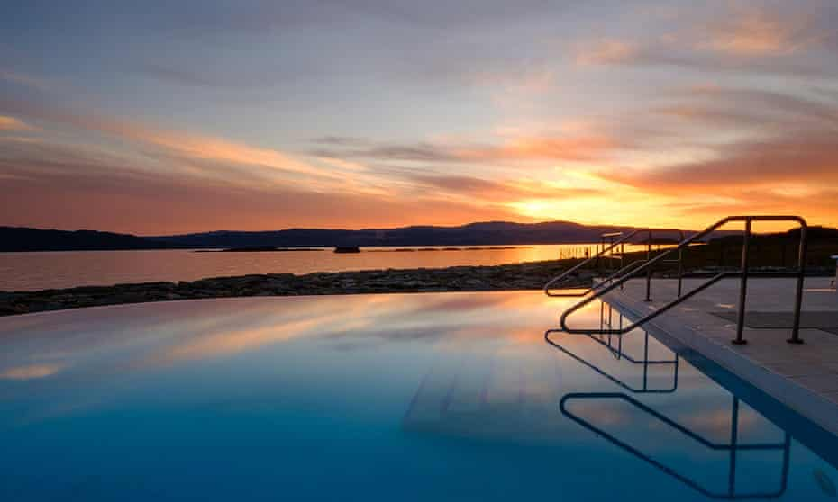 Outdoor pool at sunset, at Portavadie, Argyll and Bute, Scotland