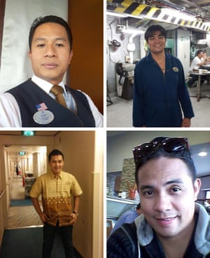Iputu Sugiartha (top left), an Indonesian waiter on the Oasis of the Seas, died ashore at a hospital in Fort Lauderdale on 20 April 2020. Carlos Baluran (top right), an incinerator room worker on the Oasis, died on 3 May 2020 in a hospital in Broward County. Royal Caribbean bar waiter Dexter Joyosa (bottom right), from the Philippines, died in a hospital in Fort Lauderdale on 18 April. Indonesian crew member Puyol Puuyy Yool (bottom left), housekeeper on the Symphony of the Seas, died at a hospital in Broward County. He was just 27 years of age.
