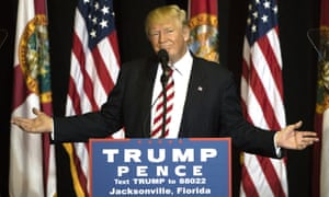 Donald Trump continued to get riled by Barack Obama's campaign appearances during a stop in Jacksonville, Florida, on Thursday.