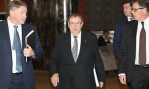 Non-executive directors Michael Johnston, Harold Mitchell and Guy Jalland arrive for the Crown Resorts annual meeting