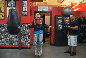 Heather Hardy, who holds the WBC international fFemale super-bantamweight title, warms up.