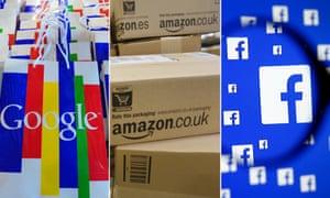 Google, Amazon and Facebook logos