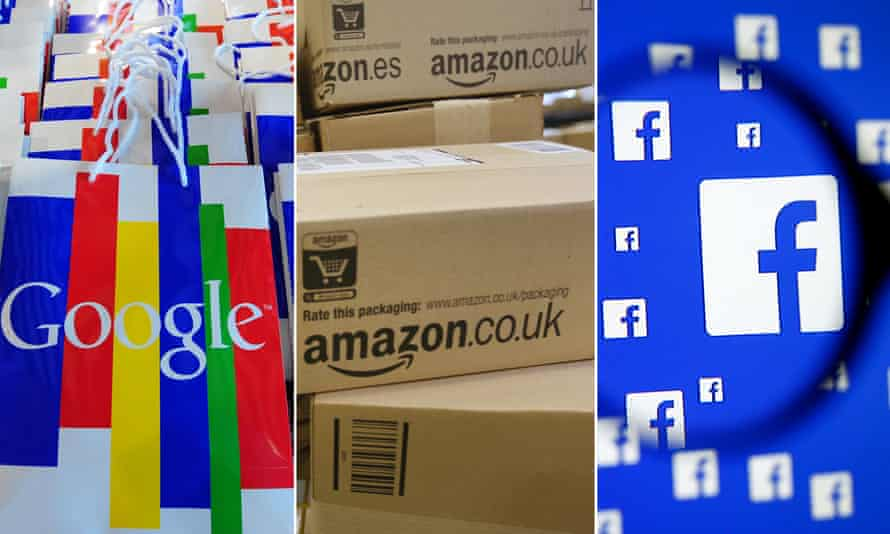 Montage of Google, Amazon and Facebook
