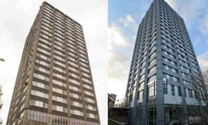 Grenfell Tower before and after refurbishment work.