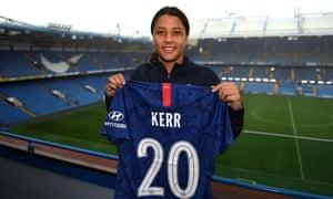 Sam Kerr at Stamford Bridge after signing for Chelsea.